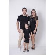 PAIS E FILHA > Kit 3 Peças - T-Shirt + Vestidos Henley - Preto [Coleção Família]