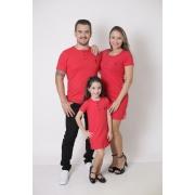 PAIS E FILHA > Kit 3 Peças - T-Shirt + Vestidos Henley - Vermelho [Coleção Família]
