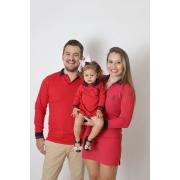 PAIS E FILHAS > Kit 03 Peças Vermelho Manga Longa Camisa + Vestidos Polo [Coleção Família]