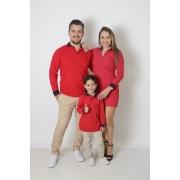 PAIS E FILHOS > Kit 03 Peças Vermelho Manga Longa Camisas ou Body + Vestido Polo [Coleção Família]