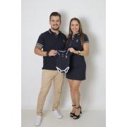 PAIS E FILHOS > Kit 3 Peças - Camisa + Body Unissex + Vestido Polo - Azul Marinho Céu [Coleção Família]