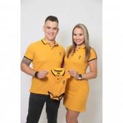 PAIS E FILHOS > Kit 3 Peças Camisa + Body Unissex + Vestido Polo - Mostarda [Coleção Família]