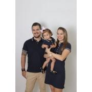 PAIS E FILHOS > Kit 3 peças Camisa e Vestidos Polo Azul Marinho Céu [Coleção Família]