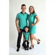 PAIS E FILHOS > Kit 3 peças Camisas ou Body Polo e Vestido Verde Jade [Coleção Família]