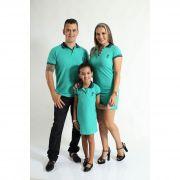 PAIS E FILHOS > Kit 3 peças Camisa e Vestidos Verde Jade [Coleção Família]