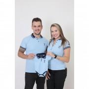 PAIS E FILHOS > Kit 3 peças Camisas + Body Polo Unissex Azul Nobreza [Coleção Família]