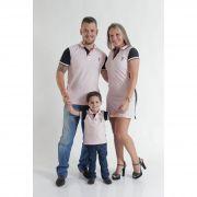 PAIS E FILHOS > Kit 3 peças Camisas e Vestido Polo Rosa com Azul Marinho Céu [Coleção Família]