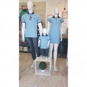 PAIS E FILHOS > Kit 3 peças Camisas ou Body Polo e Vestido Azul Nobreza [Coleção Família]