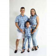 PAIS E FILHAS > Kit 3 peças Camisas Social Azul Floral [Coleção Família]