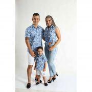 PAIS E FILHOS > Kit 3 peças Camisas Social Azul Floral [Coleção Família]