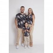 PAIS E FILHOS > Kit 3 peças Camisas Social Preta Floral [Coleção Família]