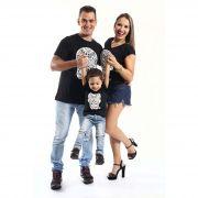 PAIS E FILHOS > Kit 3 peças Camisetas Pretas Caveira Alto Relevo [Coleção Família]