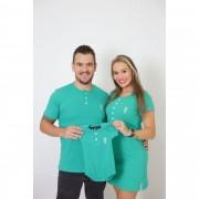 PAIS E FILHOS > Kit 3 Peças T-Shirt + Vestido + Body Unissex Henley - Verde Jade [Coleção Família]
