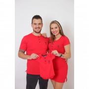 PAIS E FILHOS > Kit 3 Peças T-Shirt + Vestido + Body  Unissex Henley - Vermelho [Coleção Família]
