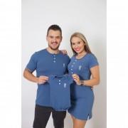 PAIS E FILHOS > Kit 3 Peças T-Shirt + Vestido + Body Unissex Infantil Henley - Azul Petróleo [Coleção Família]