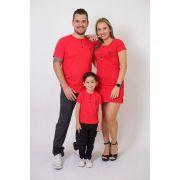PAIS E FILHOS > Kit 3 Peças T-Shirt + Vestido + t-Shirt ou Body Infantil Henley - Vermelho [Coleção Família]