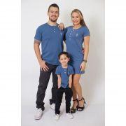 PAIS E FILHOS > Kit 3 Peças T-Shirt + Vestido + t-Shirt ou Body Infantil Henley - Azul Petróleo [Coleção Família]