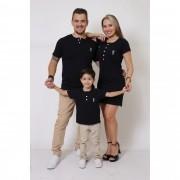 PAIS E FILHOS > Kit 3 Peças T-Shirt + Vestido + t-Shirt Unissex ou Body Infantil Henley - Preto [Coleção Família]