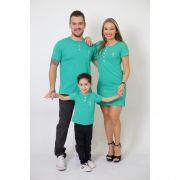 PAIS E FILHOS > Kit 3 Peças T-Shirt + Vestido + t-Shirt ou Body Infantil Henley - Verde Jade [Coleção Família]