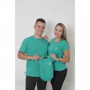 PAIS E FILHOS > Kit 3 Peças - T-Shirts + Body Unissex Henley - Verde Jade [Coleção Família]
