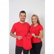 PAIS E FILHOS > Kit 3 Peças - T-Shirts + Body Henley - Vermelho [Coleção Família]