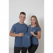 PAIS E FILHOS > Kit 3 Peças - T-Shirts + Body Unissex Henley - Azul Petróleo [Coleção Família]