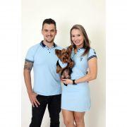 PAIS E PET > Kit 3 peças Camisa + Vestido Polo + Bandana - Azul Nobreza [Coleção Família]