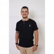 T-Shirt Henley Masculina Preta