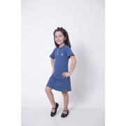Vestido Henley Infantil Azul Petróleo