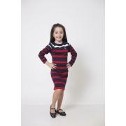 Vestido Suéter Listrado Infantil