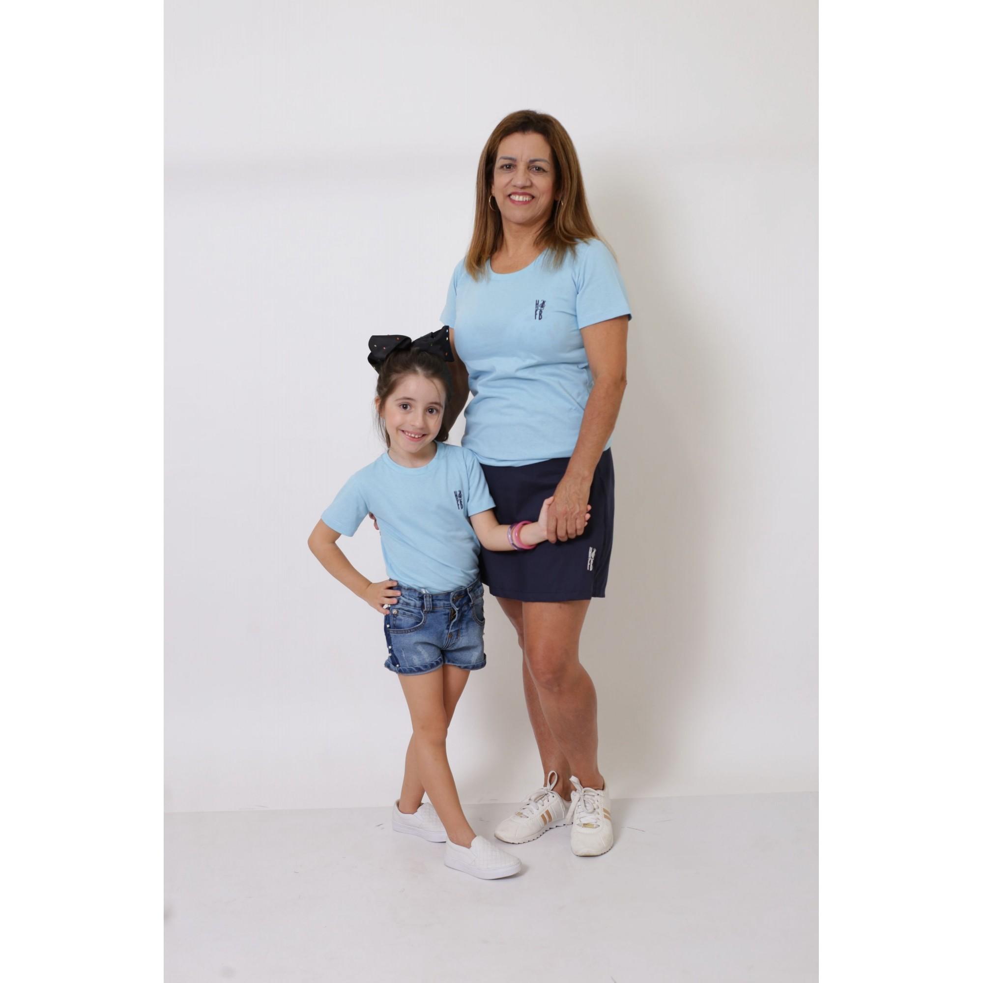 AVÓ E NETA > Kit 02 Peças T-Shirts - Azul Bebê [Coleção Tal Avó Tal Neta]  - Heitor Fashion Brazil