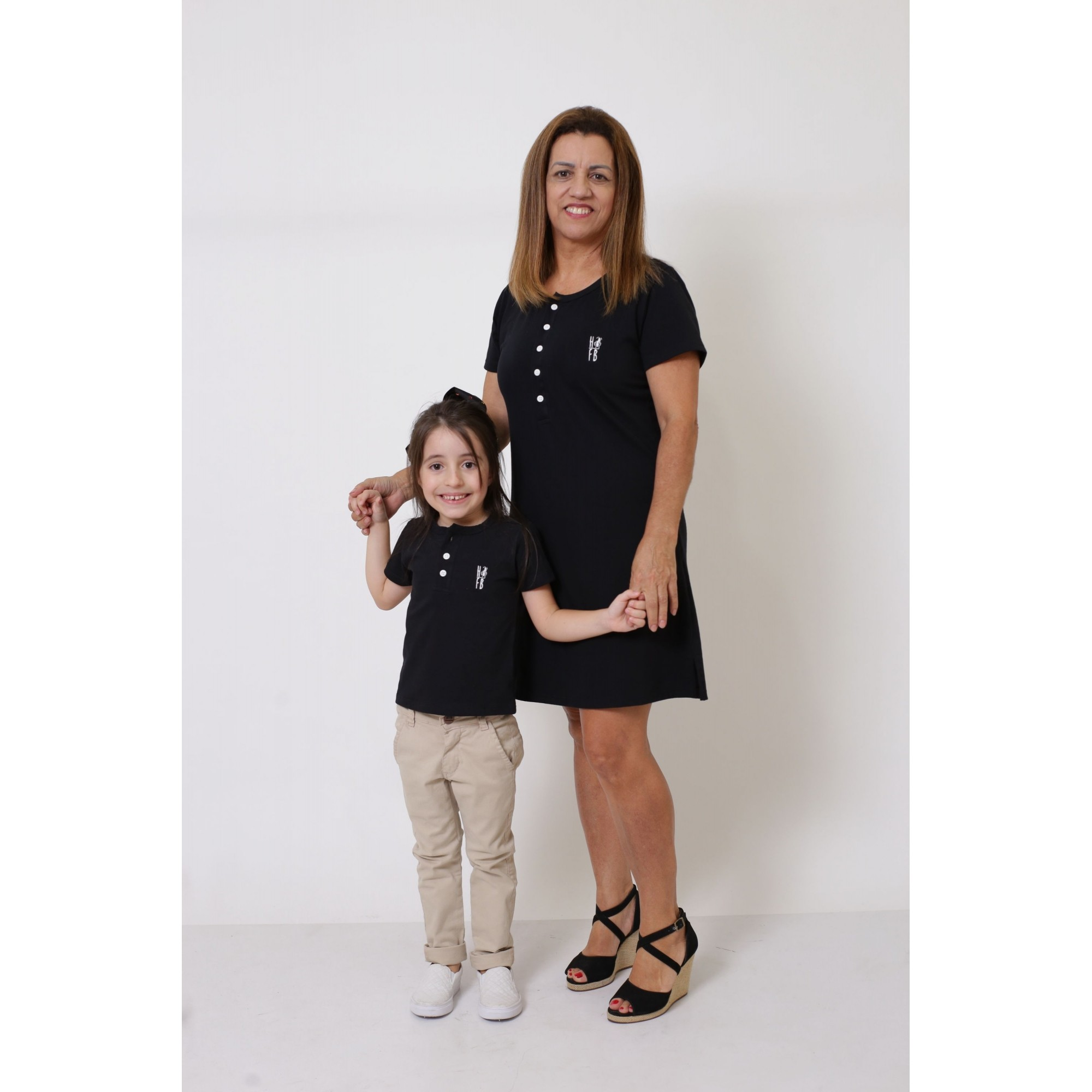 AVÓ E NETA > Kit Vestido + T-shirt Unissex ou Body Infantil - Henley - Preto [Coleção Tal Avó Tal Neta]  - Heitor Fashion Brazil