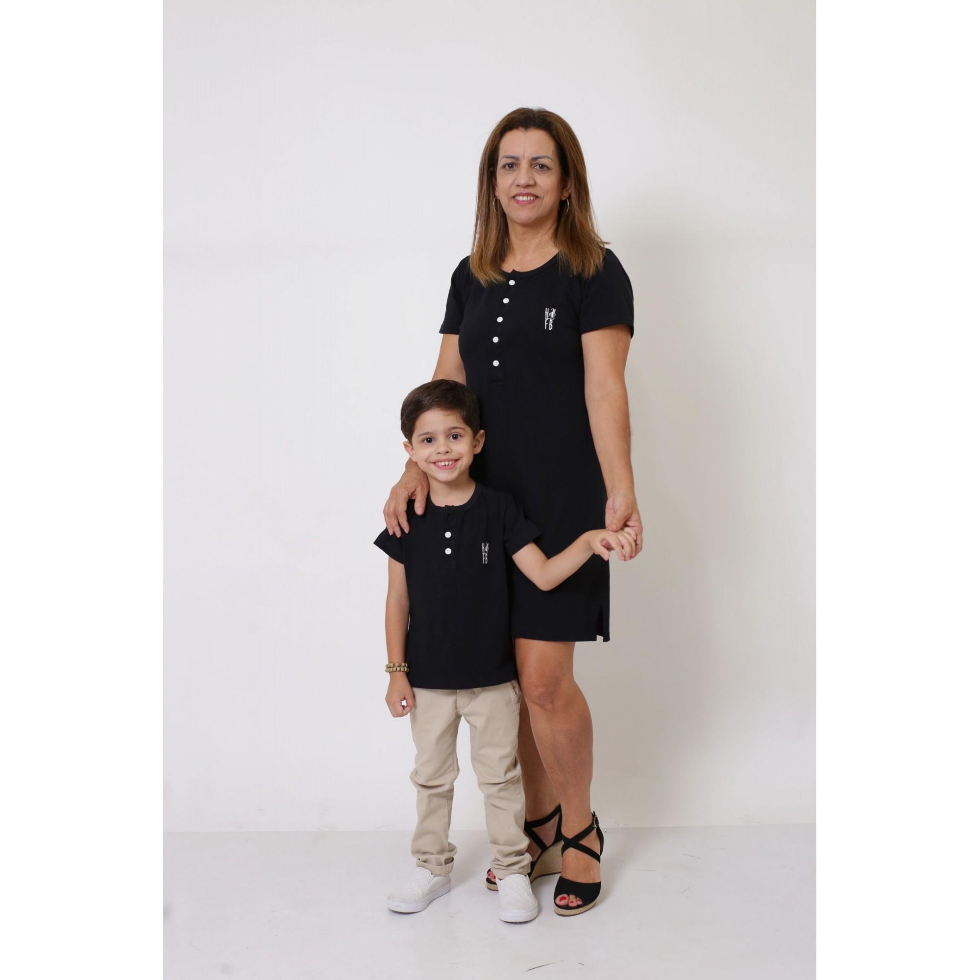 AVÓ E NETO > Kit Vestido + T-shirt Unissex ou Body Infantil - Henley - Preto [Coleção Tal Avó Tal Neto]  - Heitor Fashion Brazil