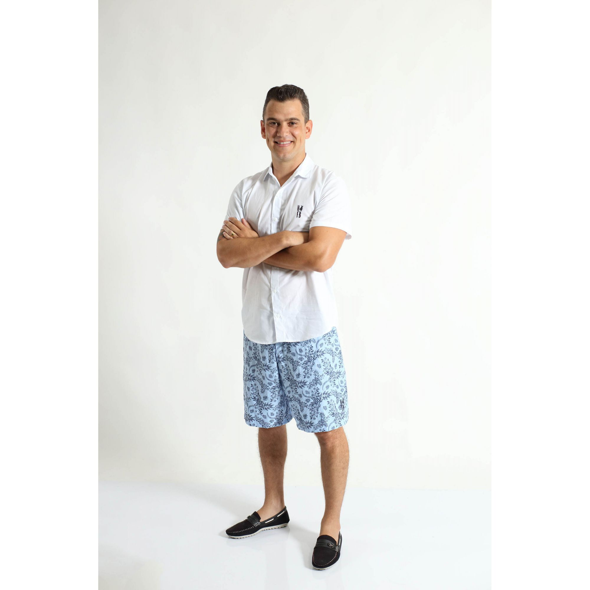 Bermuda Adulta Azul Floral  - Heitor Fashion Brazil