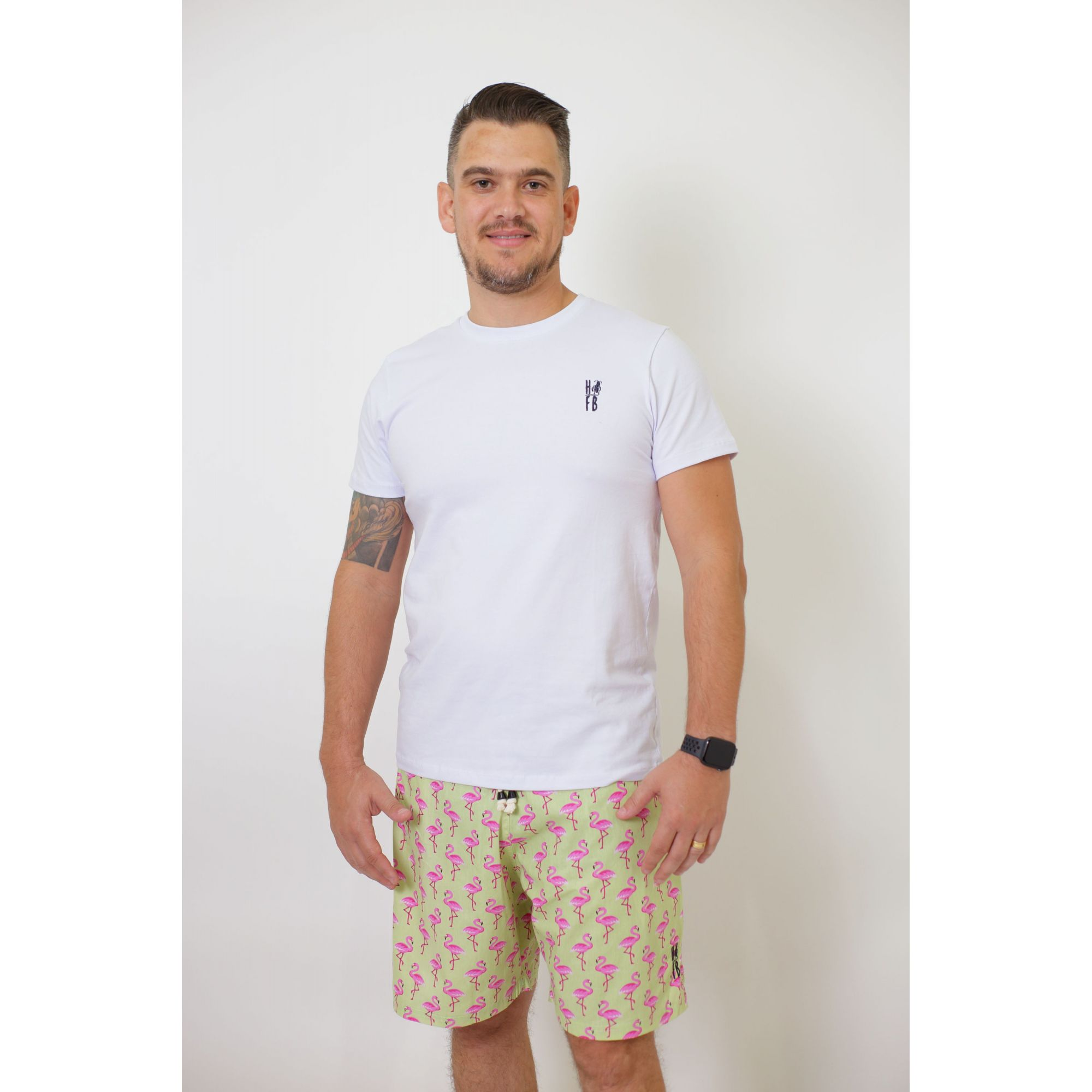 Bermuda Adulta Flamingos  - Heitor Fashion Brazil