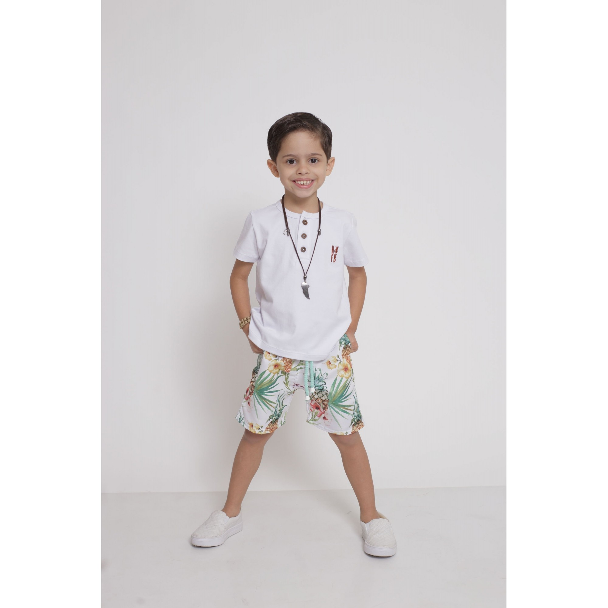 Bermuda Infantil Abacaxi Tactel  - Heitor Fashion Brazil