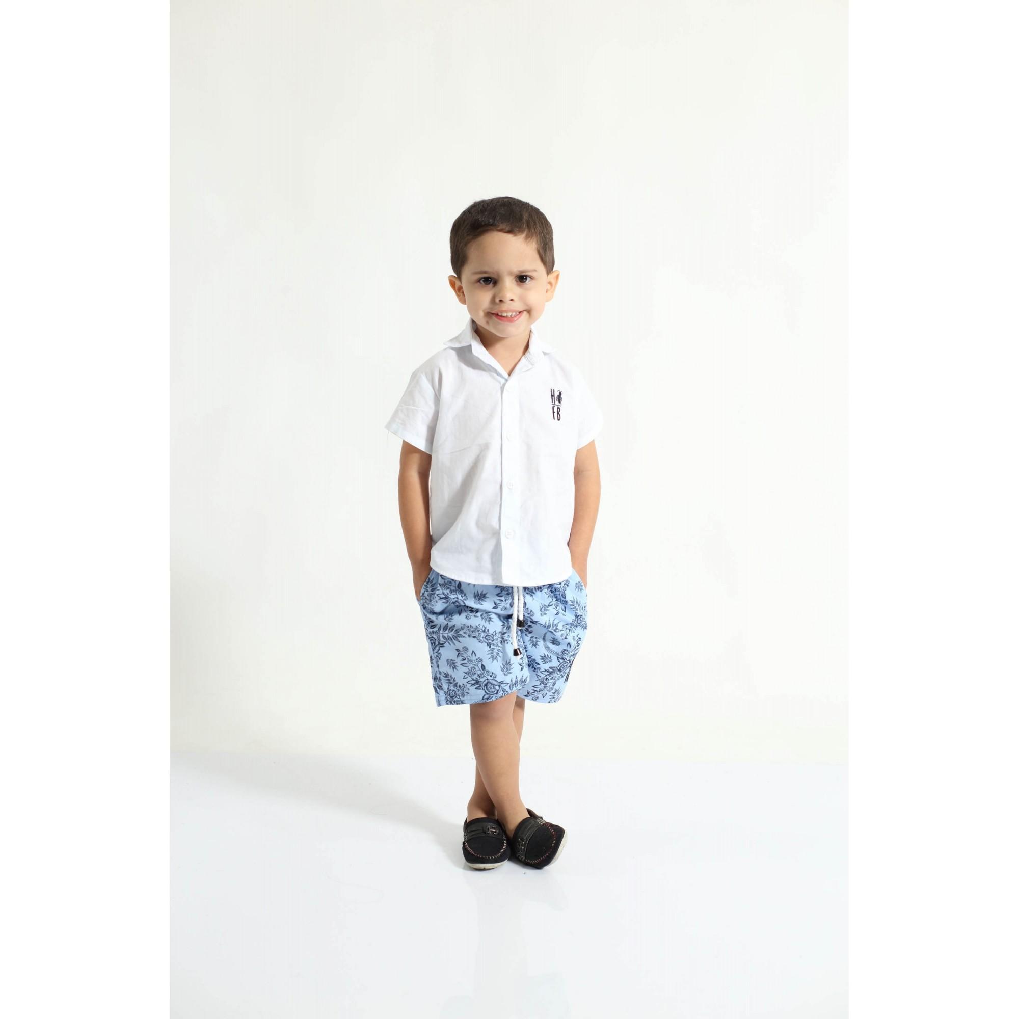 Bermuda Infantil Azul Floral  - Heitor Fashion Brazil
