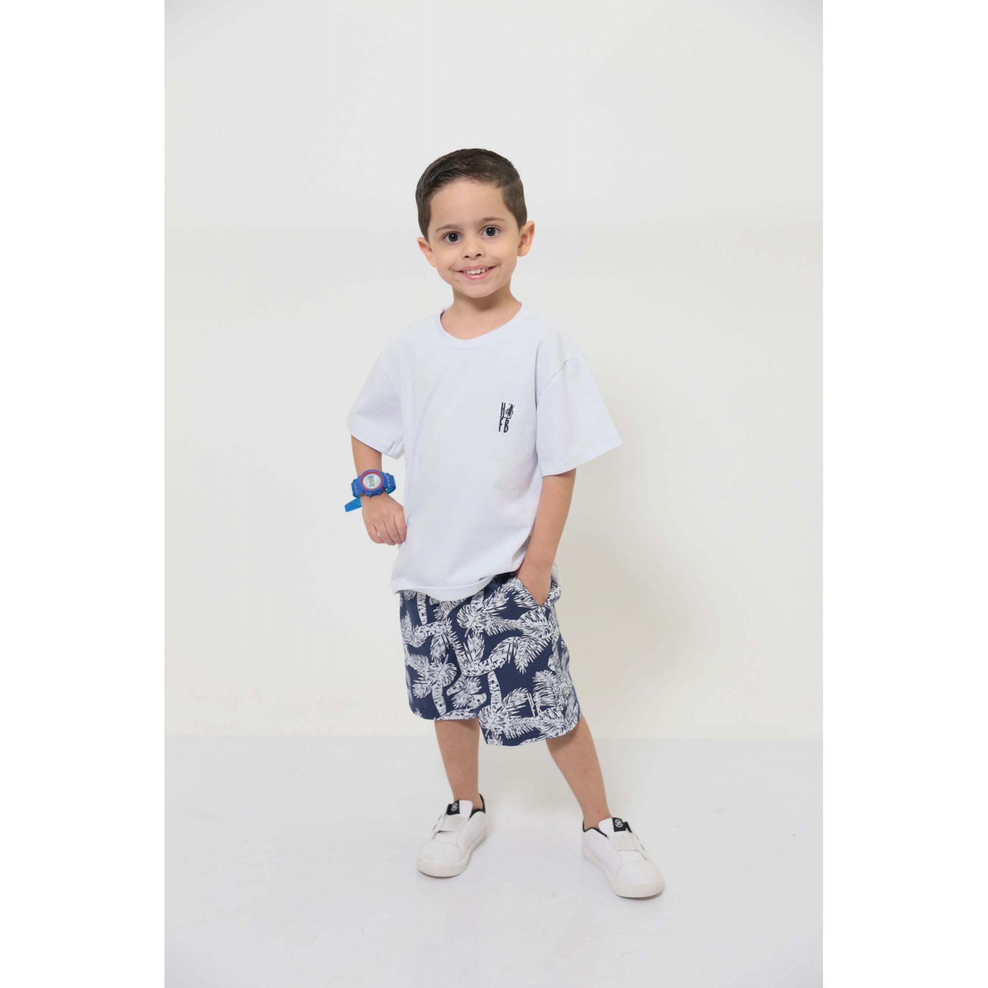 Bermuda Infantil Azul floresta  - Heitor Fashion Brazil