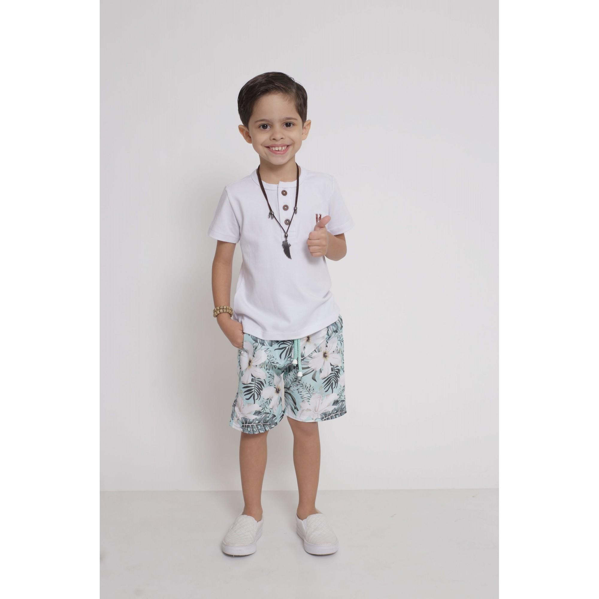 Bermuda Infantil Flores Tactel  - Heitor Fashion Brazil