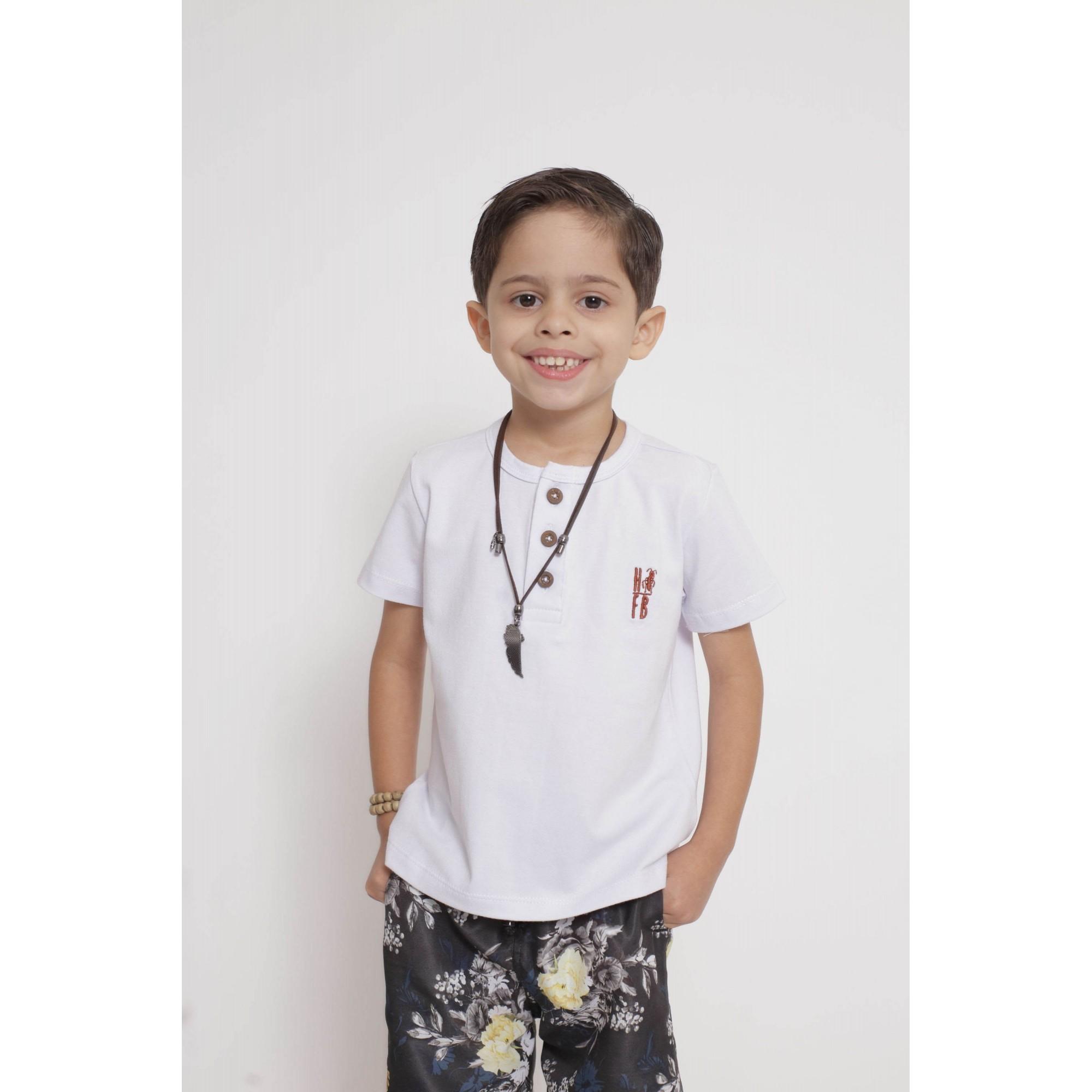 Bermuda Infantil Preta Floral  - Heitor Fashion Brazil