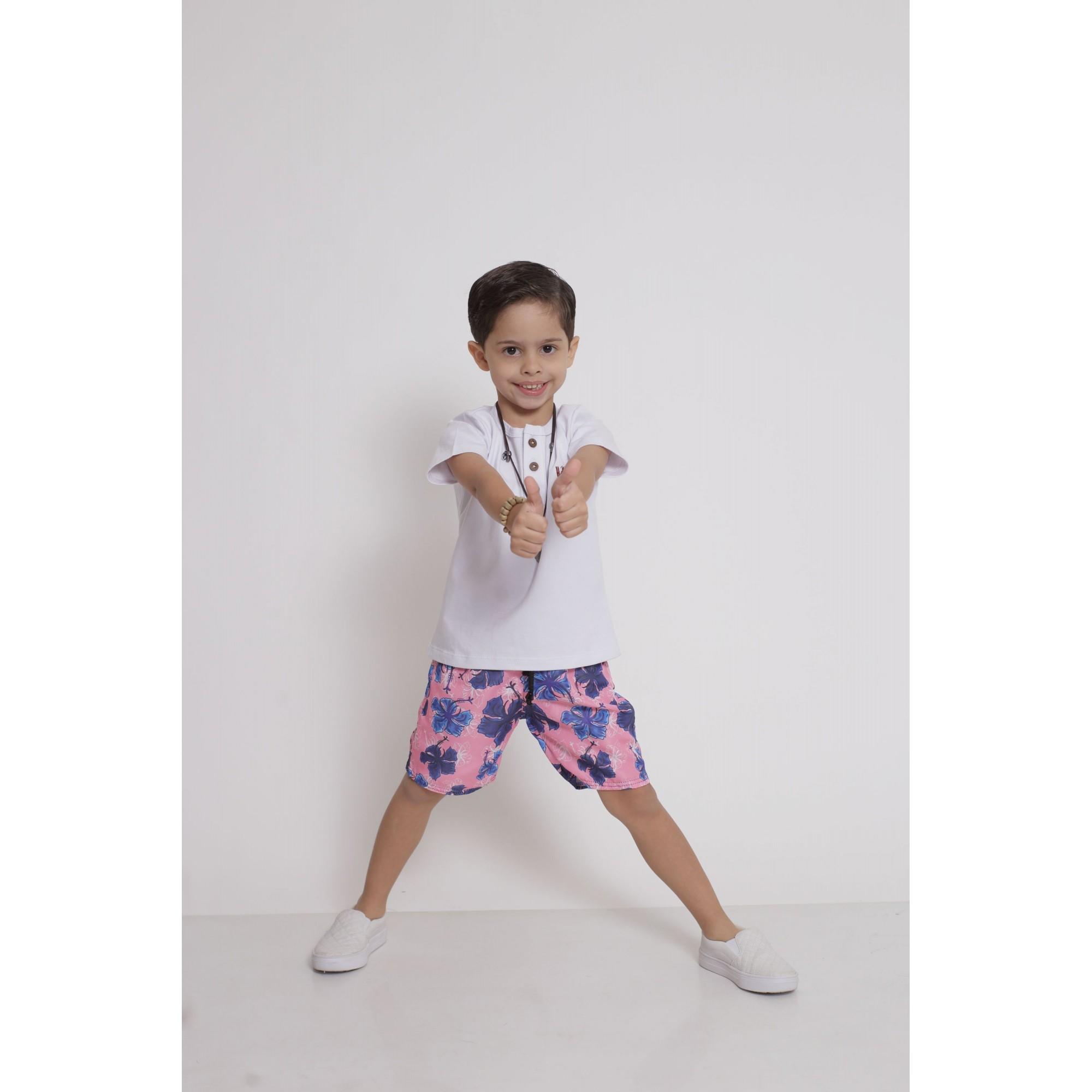 Bermuda Infantil Rosa Floral  - Heitor Fashion Brazil