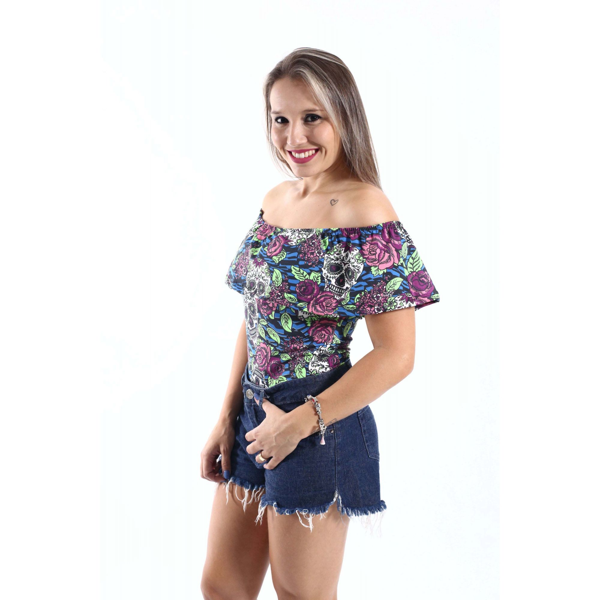 Body Feminino Adulto Ciganinha Caveira Mexicana  - Heitor Fashion Brazil