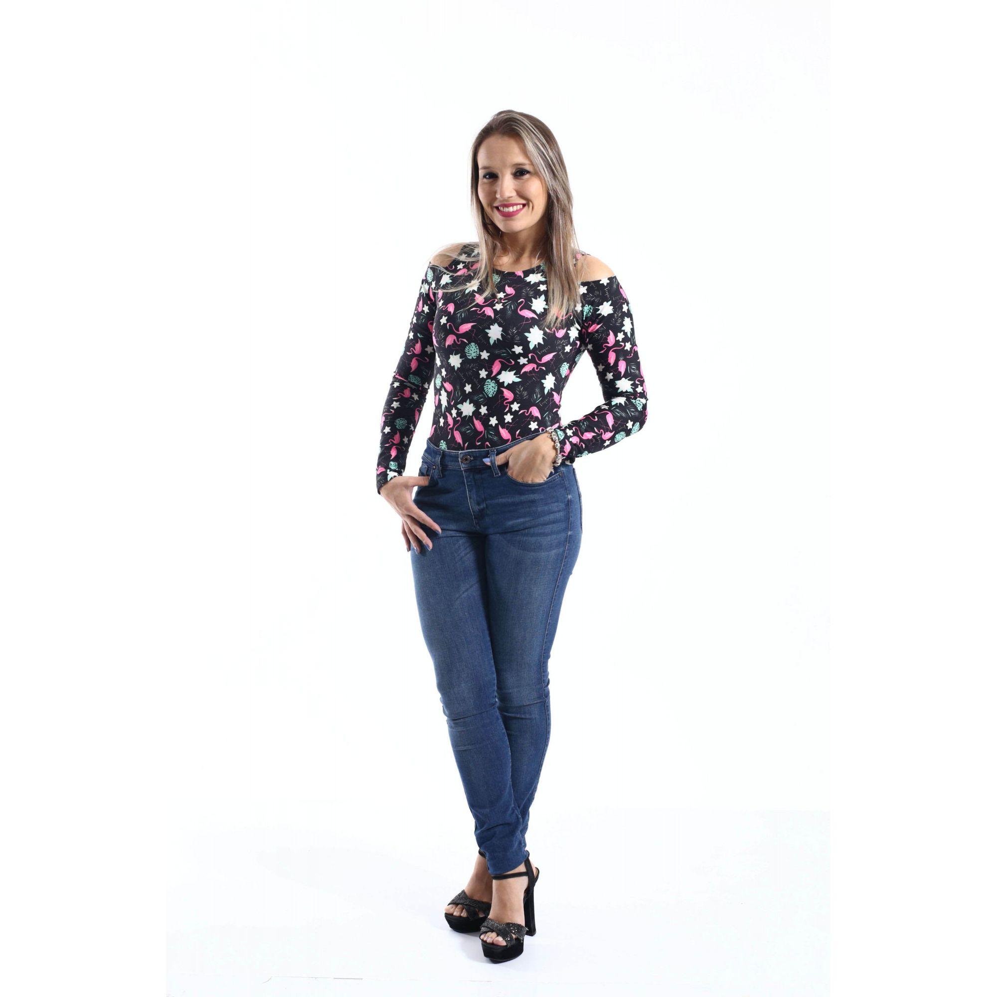 Body Feminino Adulto Flamingo Manga Longa  - Heitor Fashion Brazil