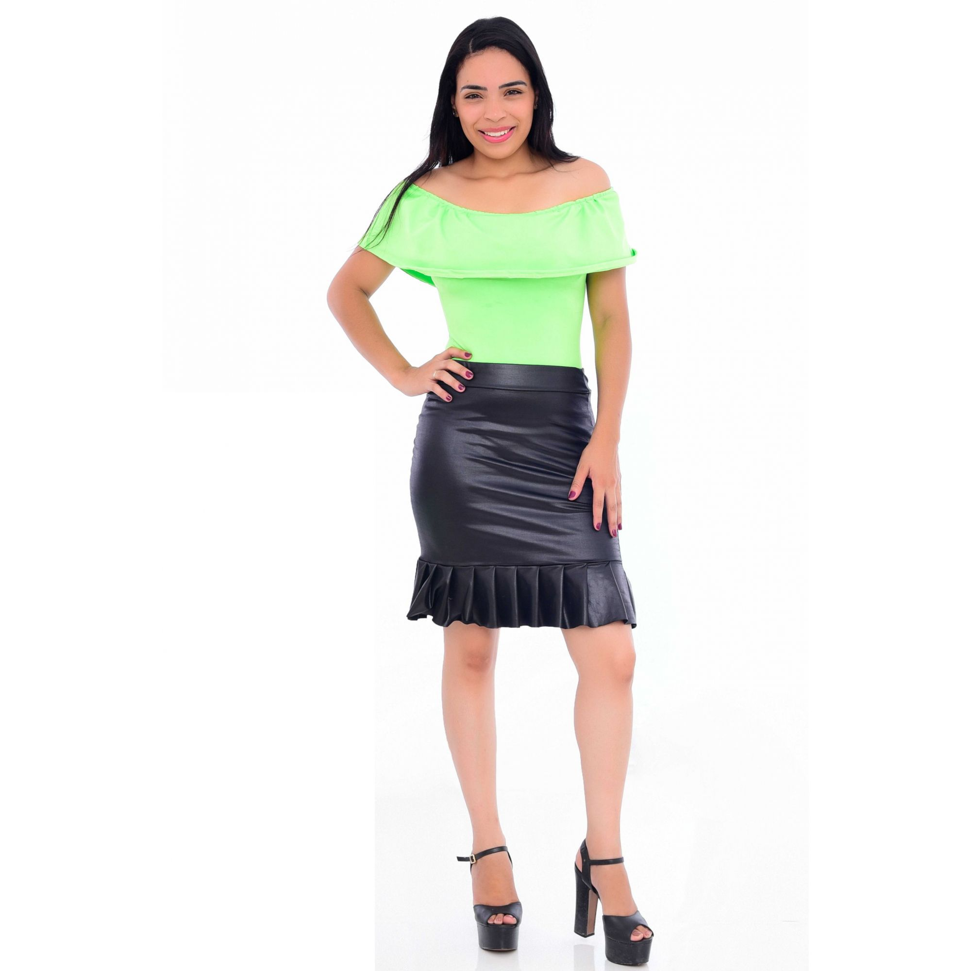 Body Feminino Adulto Neon Verde  - Heitor Fashion Brazil