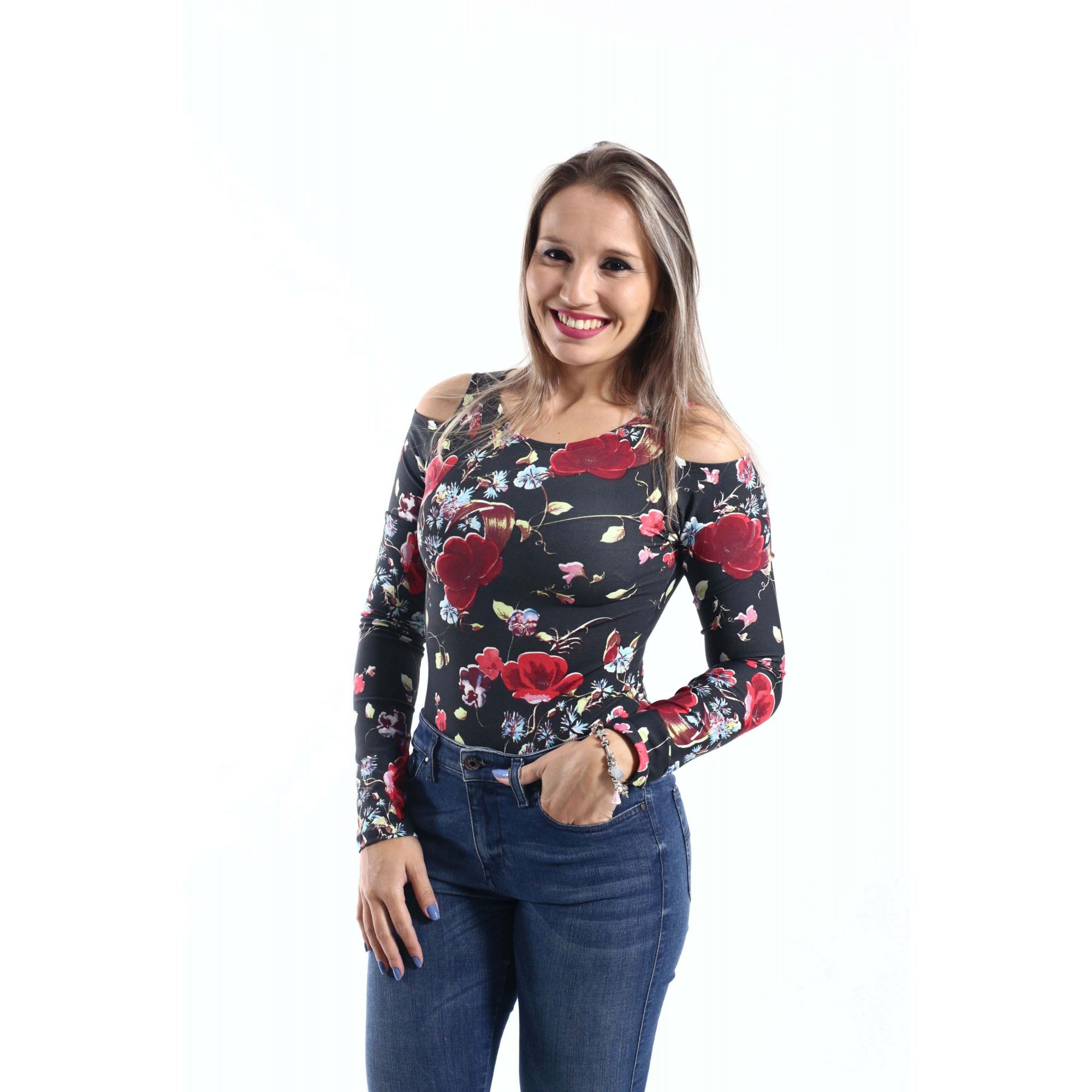 Body Feminino Adulto Rosas Manga Longa