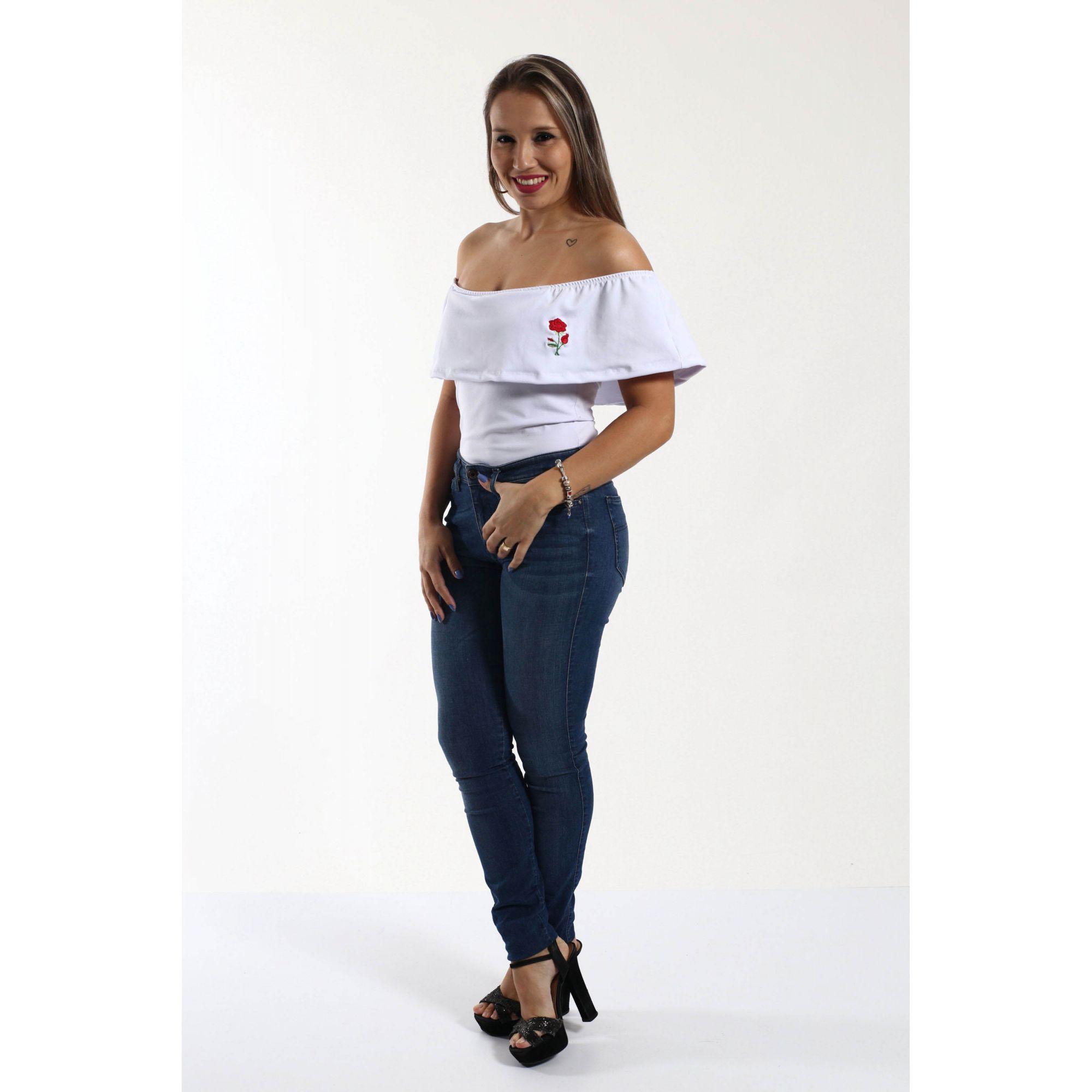 Body Feminino Branco Adulto Ciganinha Rosa Bordada  - Heitor Fashion Brazil