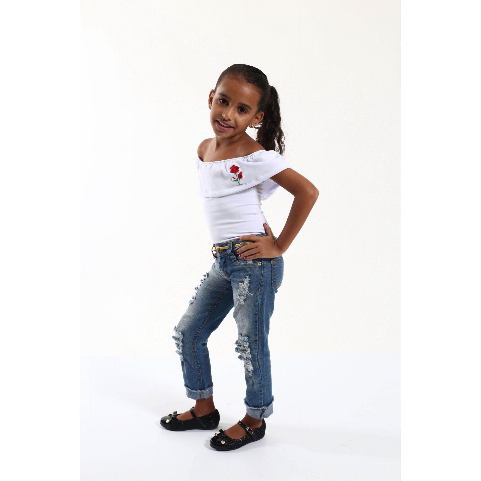 Body Feminino Infantil Branco Ciganinha Rosa Bordada  - Heitor Fashion Brazil