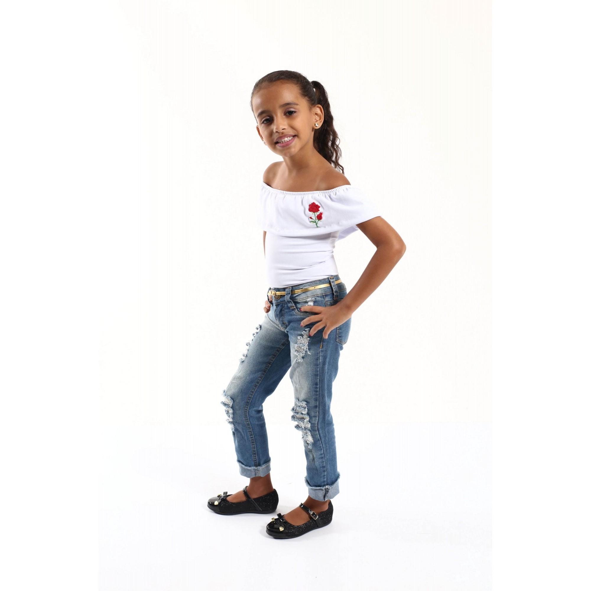 Body Feminino Infantil Ciganinha Branco  - Heitor Fashion Brazil