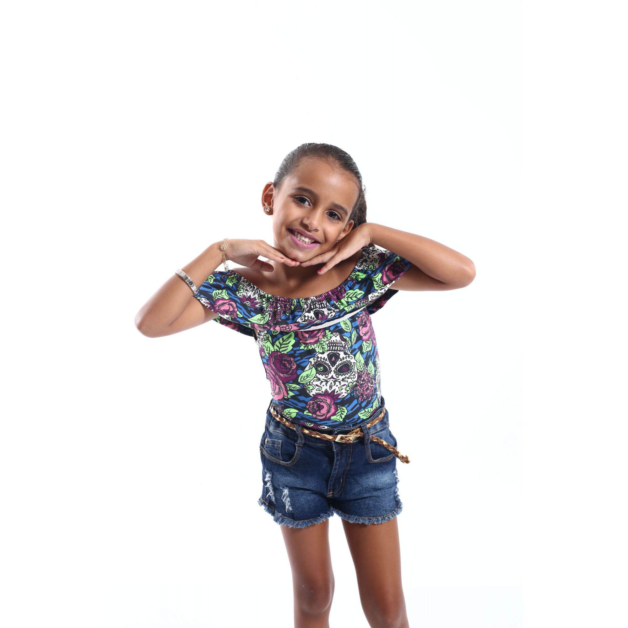 Body Feminino Infantil Ciganinha Caveira Mexicana  - Heitor Fashion Brazil