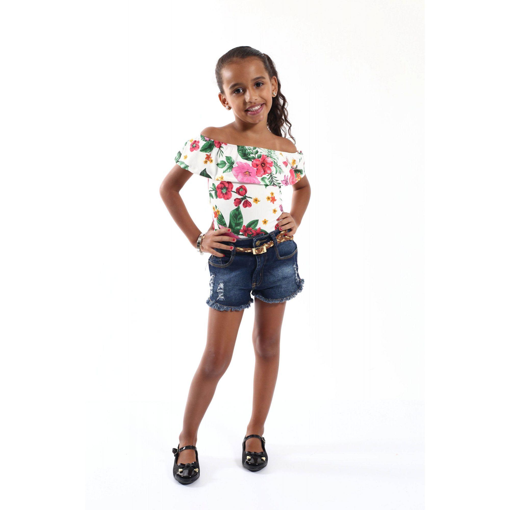 Body Feminino Infantil Ciganinha Flores  - Heitor Fashion Brazil